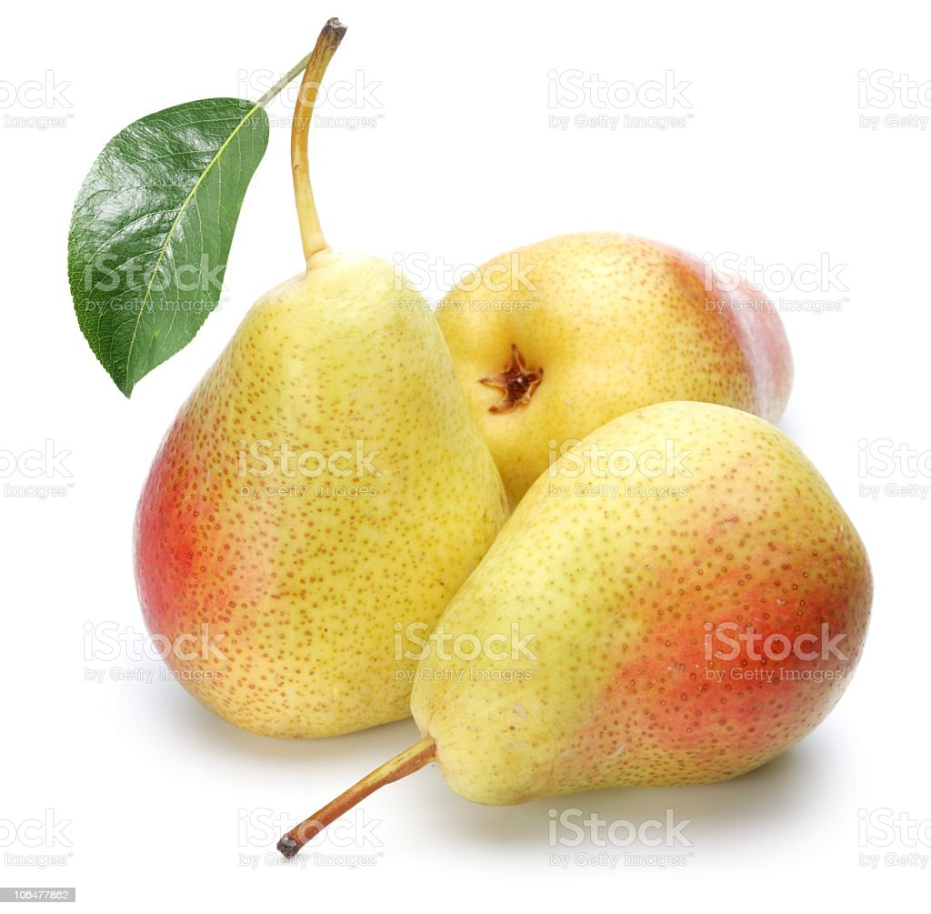 Three ripe pears on a white background stock photo