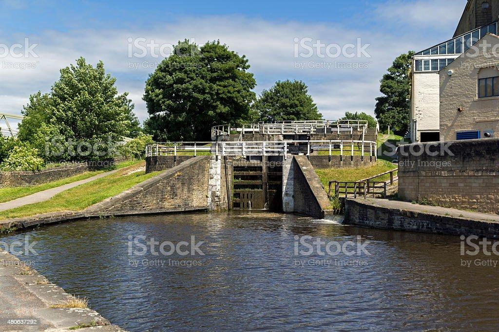 Three Rise Locks Bingley Yorkshire stock photo