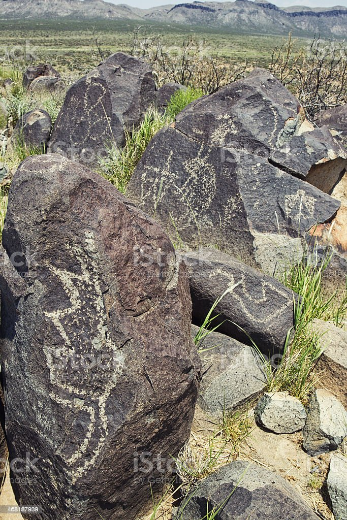 Three Rivers Petroglyph Site - New Mexico, USA royalty-free stock photo
