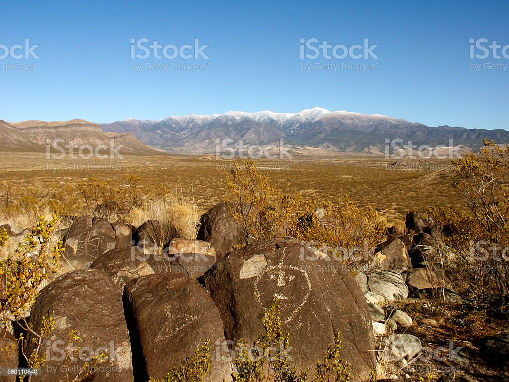 Three Rivers Petroglyph Site, Rock Art stock photo