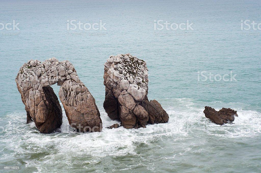 Three rocks at the Cantabrian sea, Spain stock photo