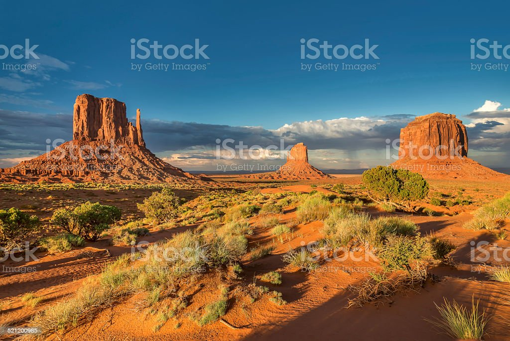 Three rocks in the desert, Monument Valley, Arizona, US stock photo
