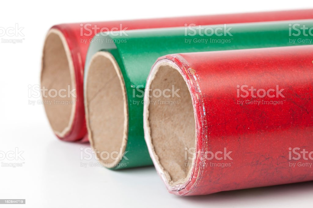 Three rolls of wrapping paper royalty-free stock photo