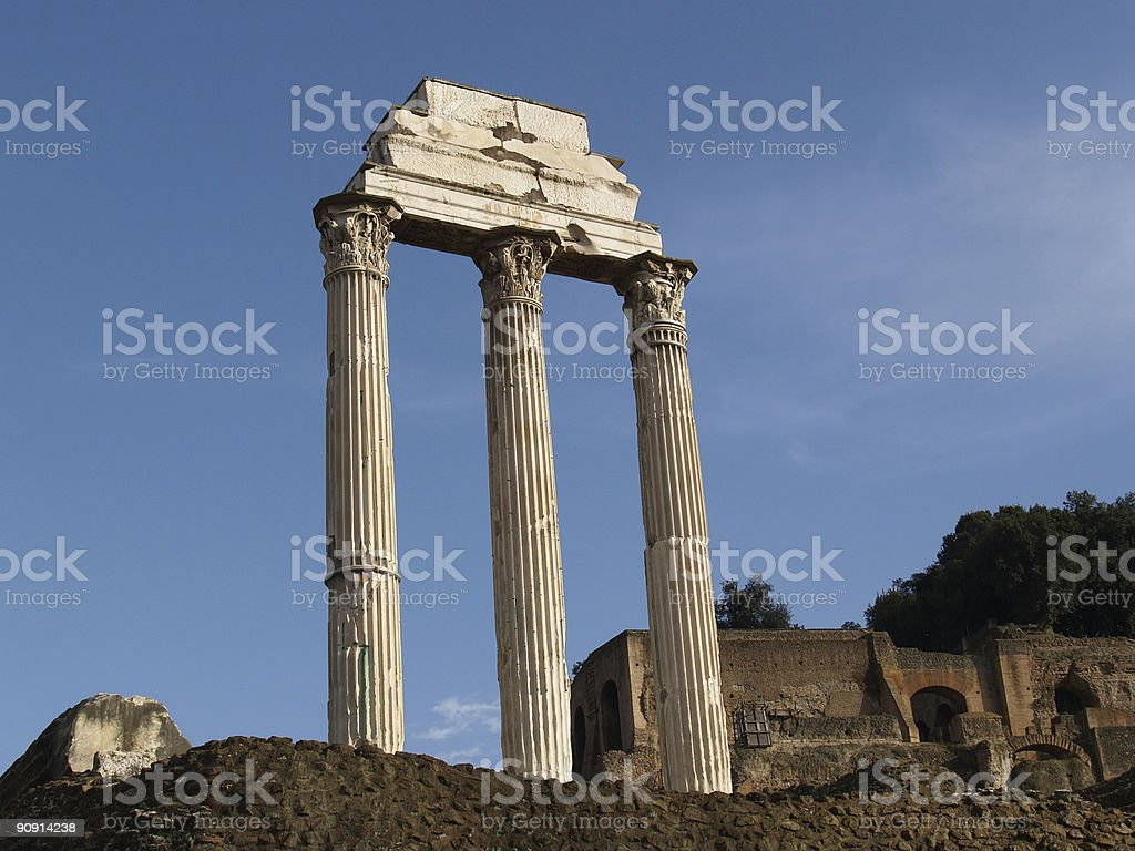 Three Roman Columns stock photo