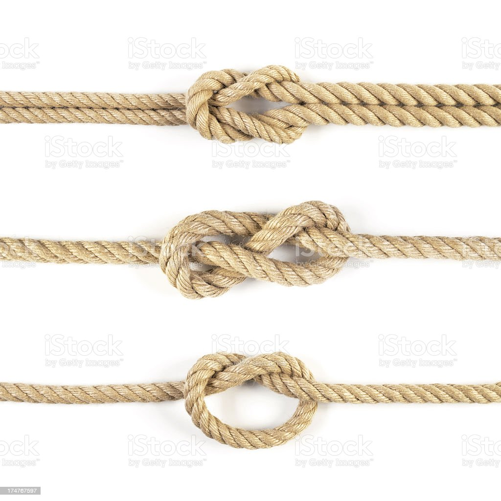 Three ropes and knots isolated on white background stock photo
