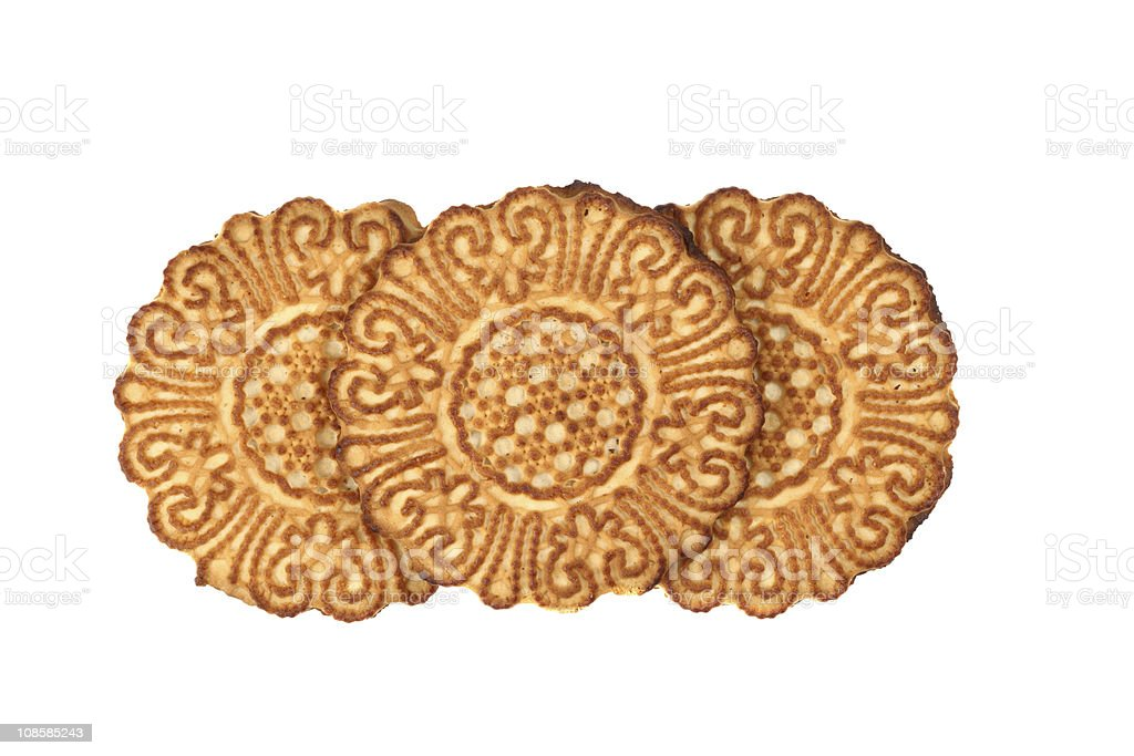 Three round cookies with a pattern. royalty-free stock photo