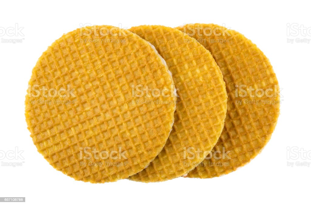 Three round wafer with stuffed isolated on white stock photo