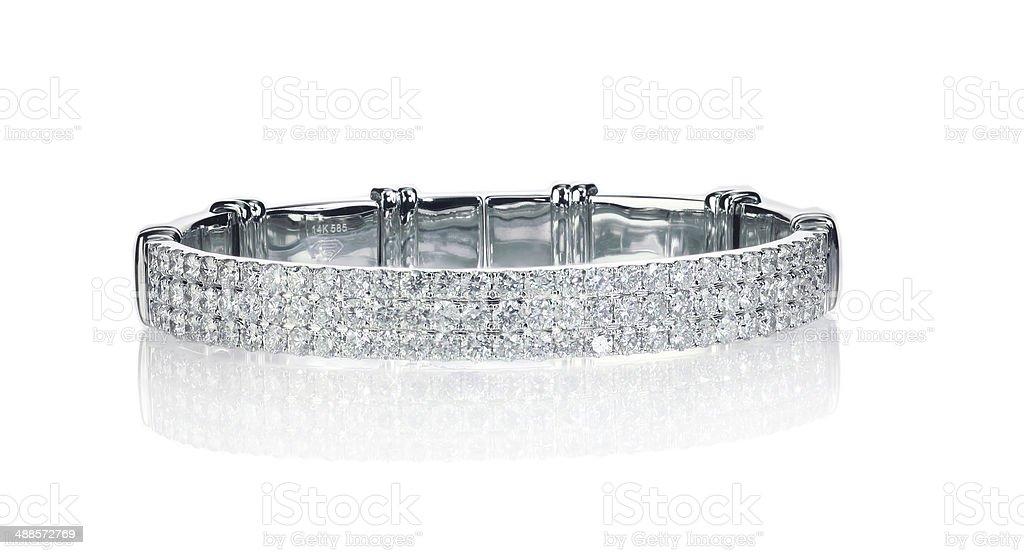 Three Row Diamond Bracelet stock photo