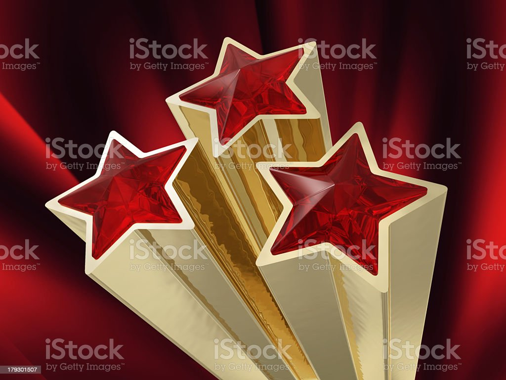 three ruby stars stock photo