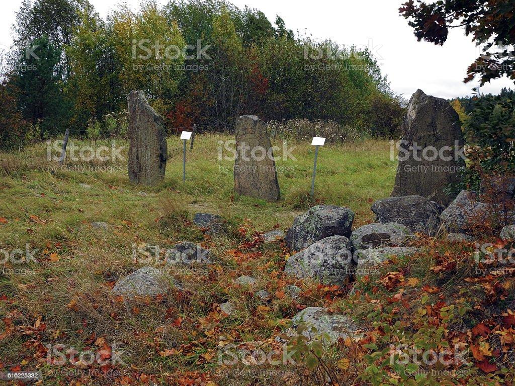 Three Rune stones stock photo