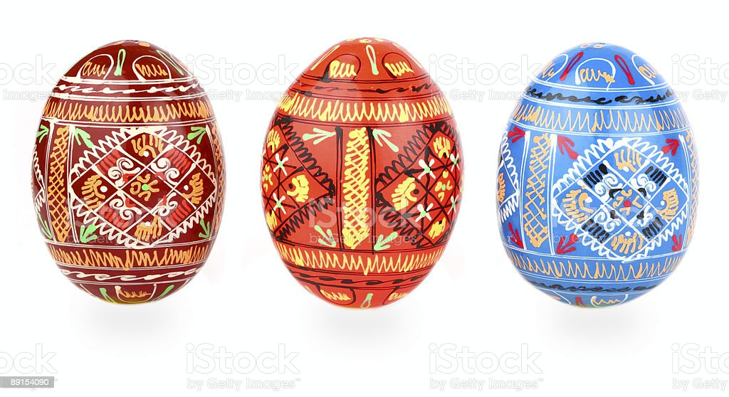 three russian tradition easter eggs abreast over white stock photo