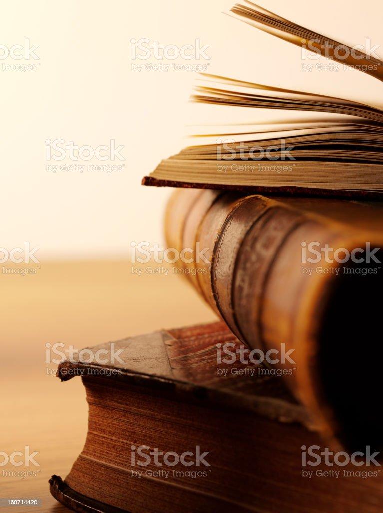 Three Rustic Books royalty-free stock photo