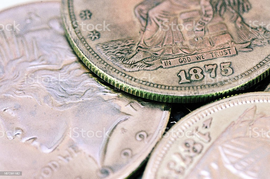 three rustic old american silver coins stock photo