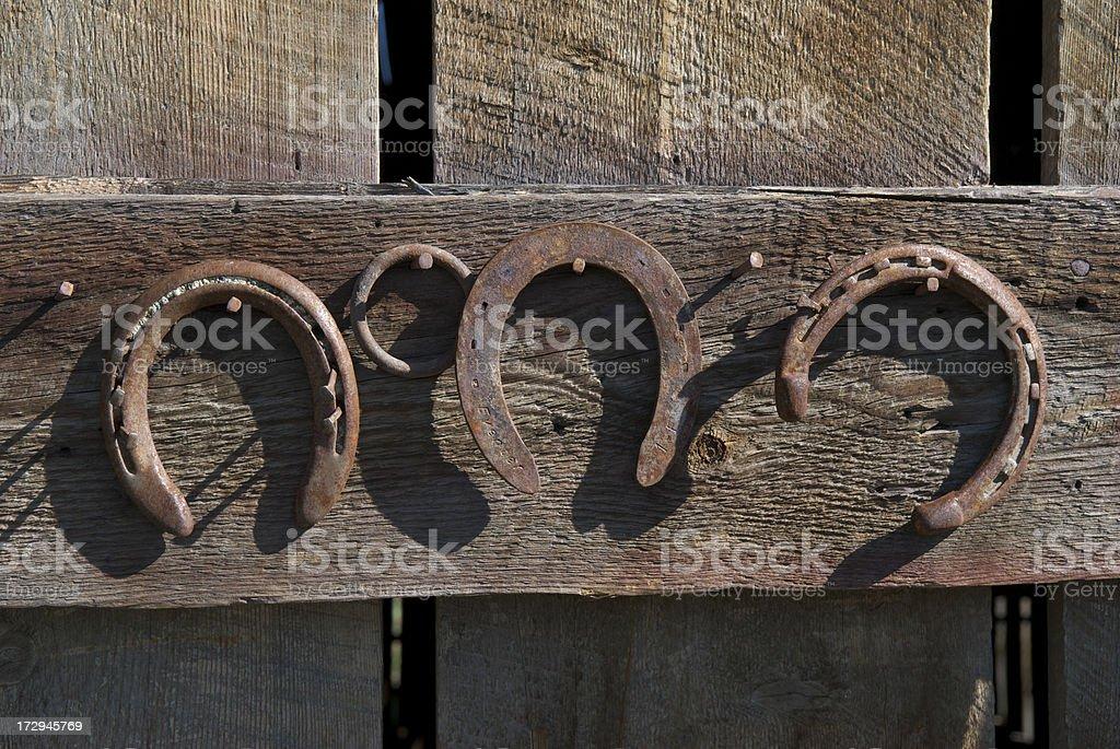 Three Rusty Horseshoes royalty-free stock photo