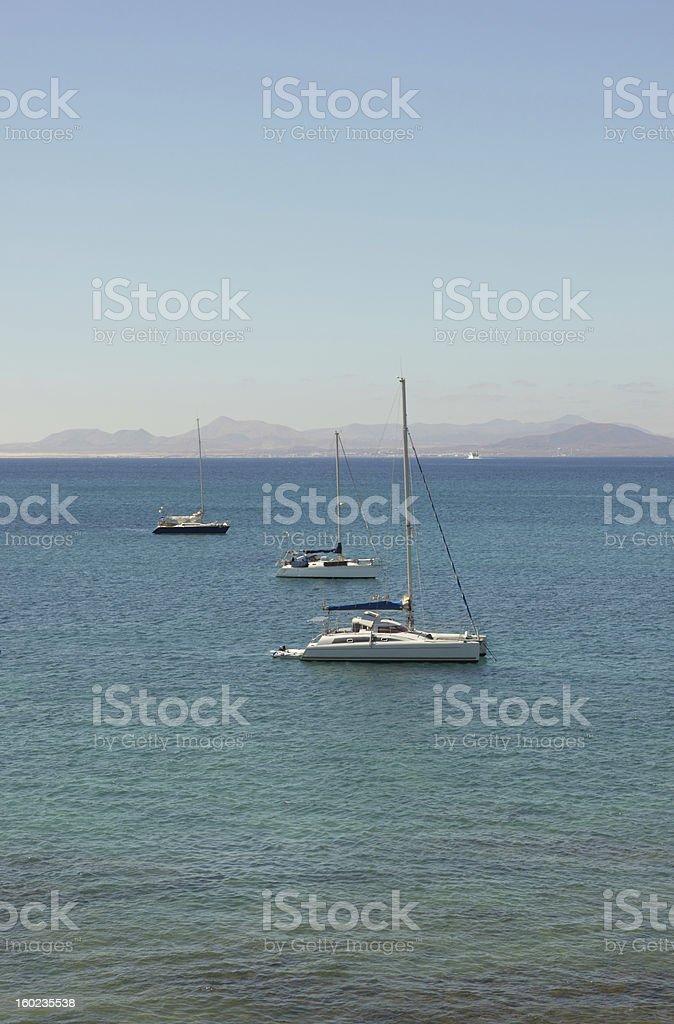Three sailing boats royalty-free stock photo