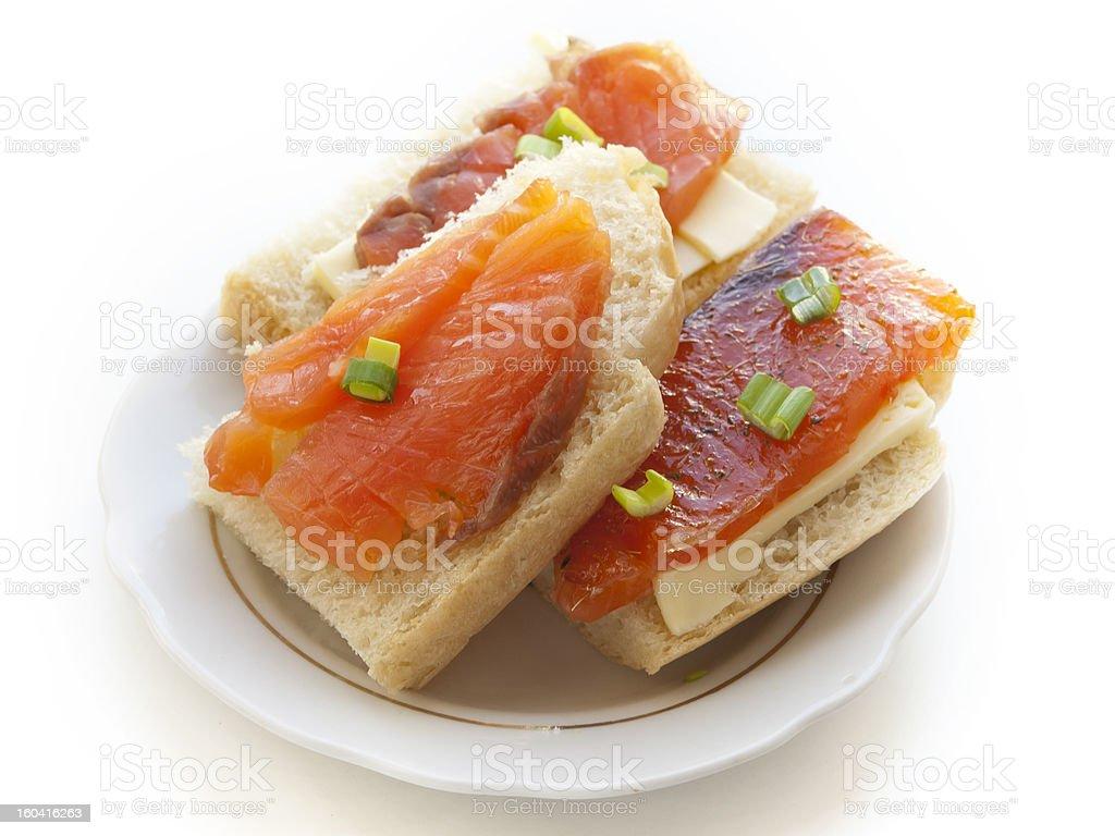 three salmon sandwiches royalty-free stock photo