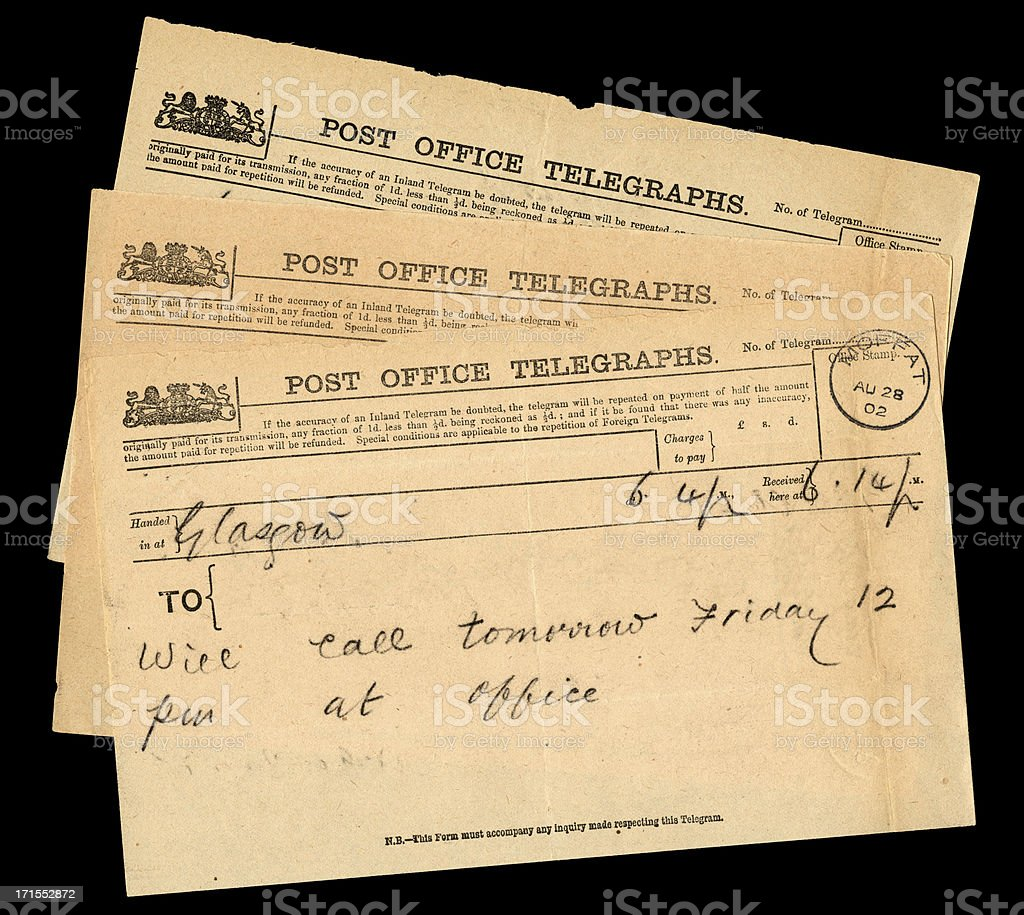 Three Scottish telegrams 1902 royalty-free stock photo