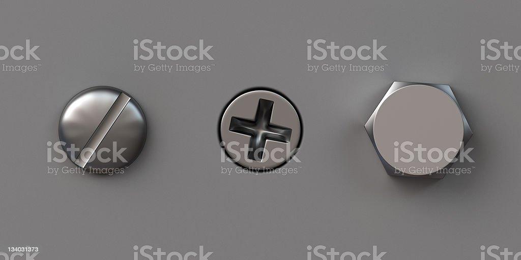 Three screw caps stock photo