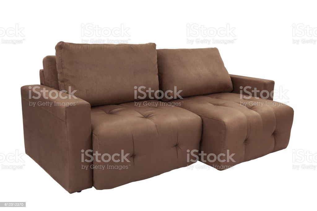 Three seats cozy brown fabric sofa stock photo