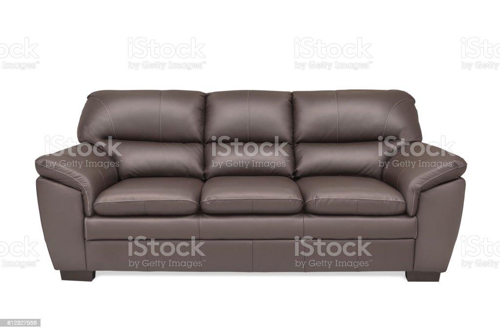 Three seats cozy brown leather stock photo