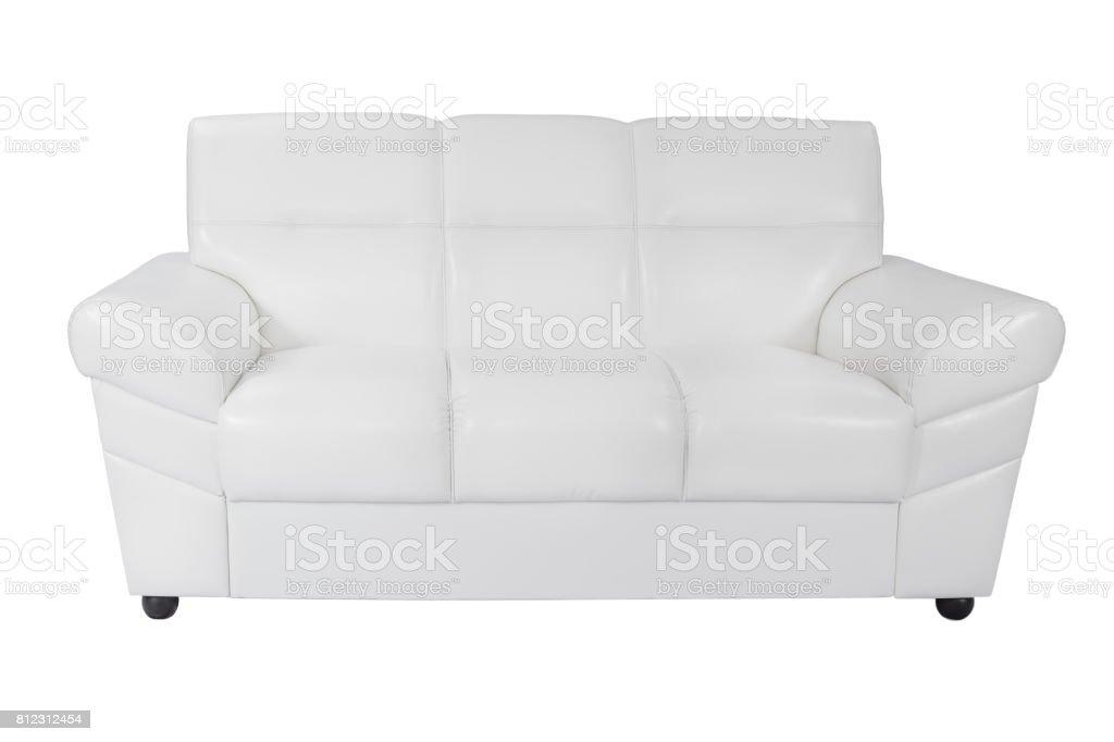 Three seats cozy white leather sofa stock photo