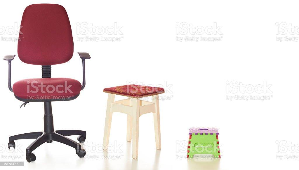 Three seats stock photo