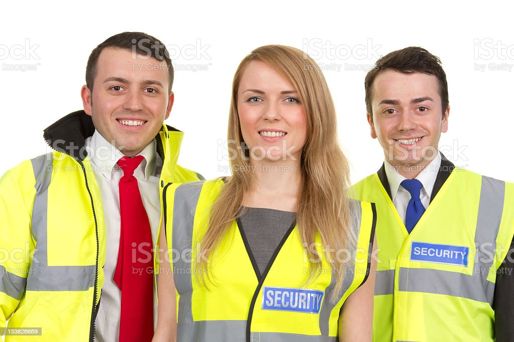 Three security guards stock photo