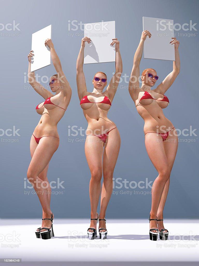three sexy woman holding blank billboards stock photo