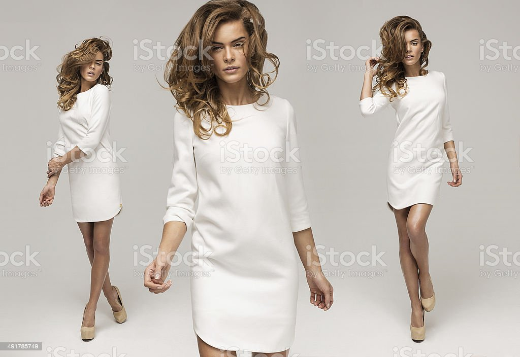 Three sexy woman in white dress stock photo