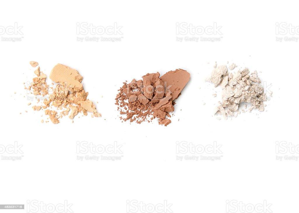 Three shade colors of make-up powder on white background stock photo