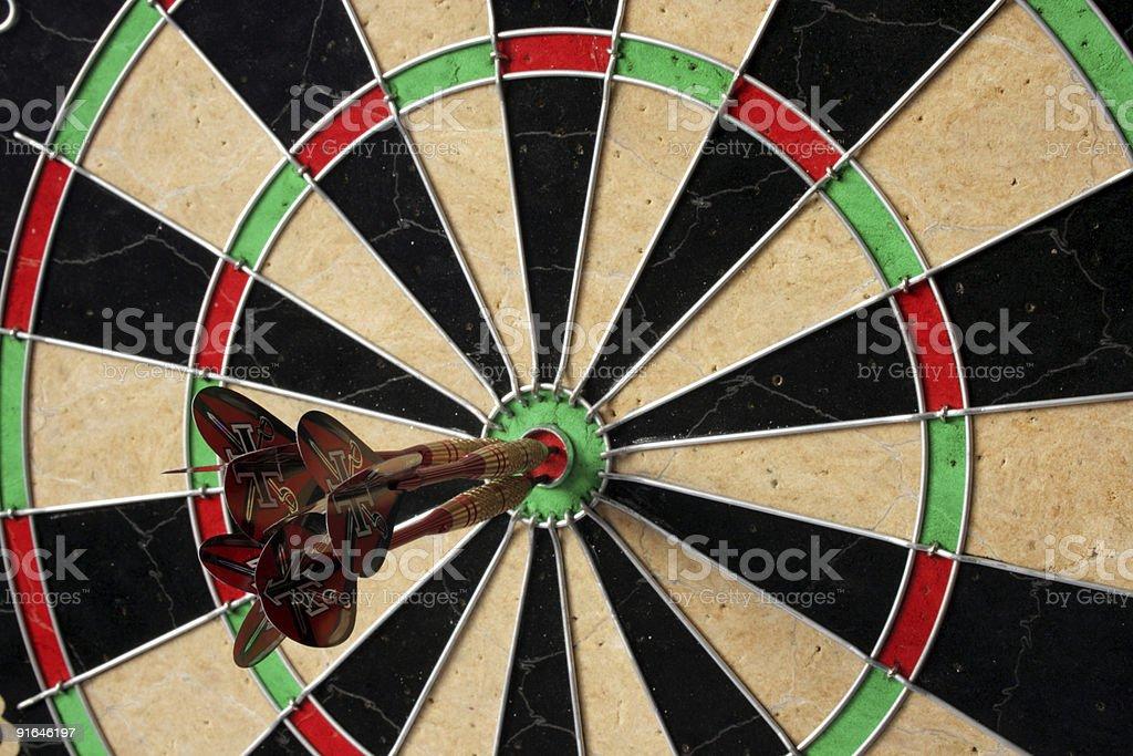 three shafts in a bullseye stock photo