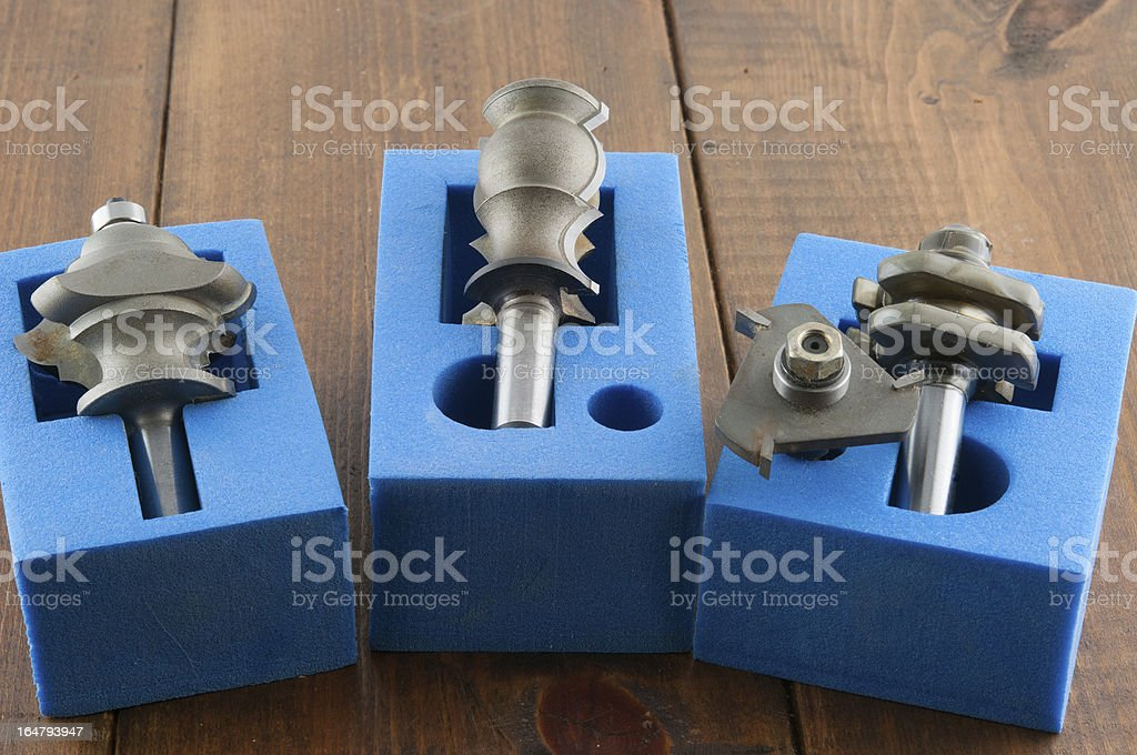 Three shaped cutter for wood royalty-free stock photo