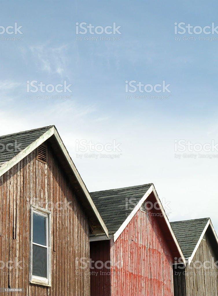 Three sheds. stock photo