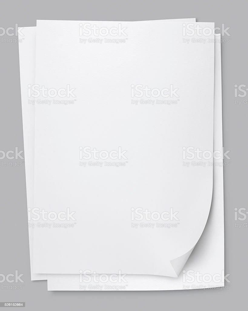 three sheets of memo papers isolated on white. stock photo
