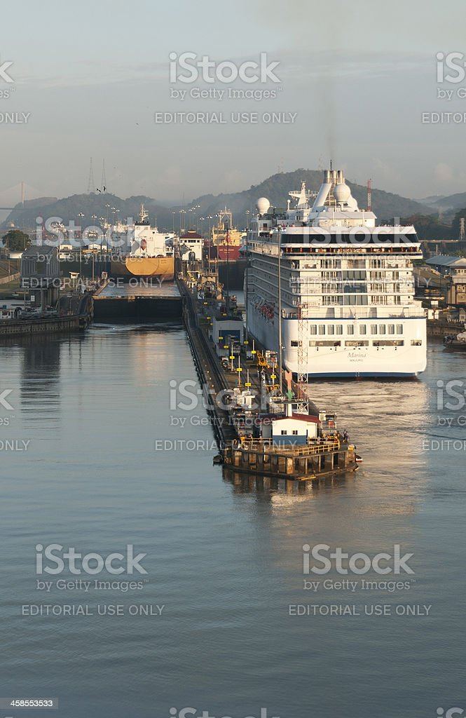 Three Ships Traveling the Miraflores Locks Panama Canal stock photo