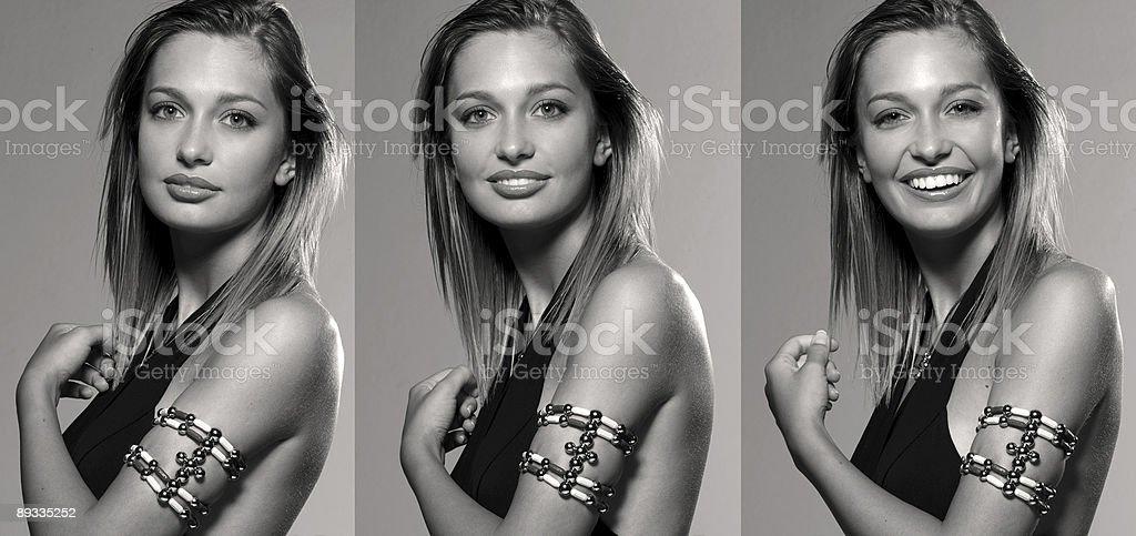 Three shots of pretty woman stock photo