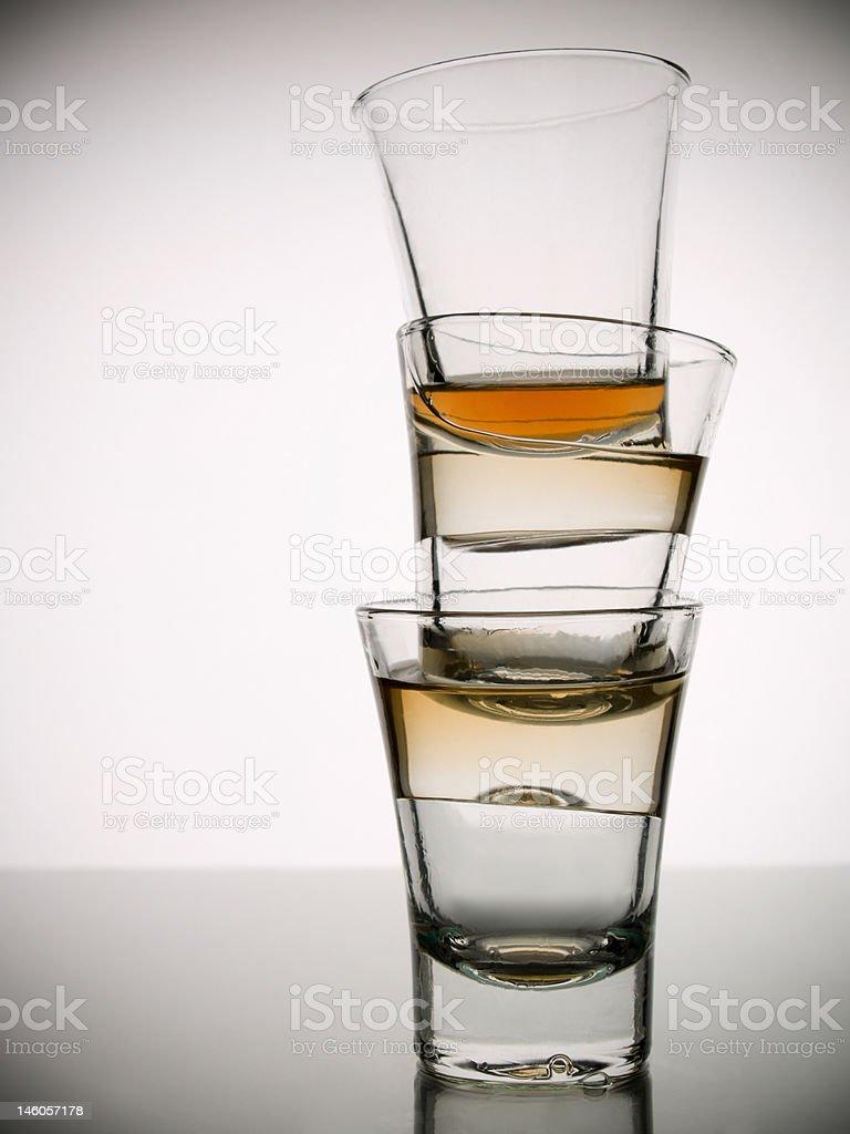 Three shots of whisky royalty-free stock photo