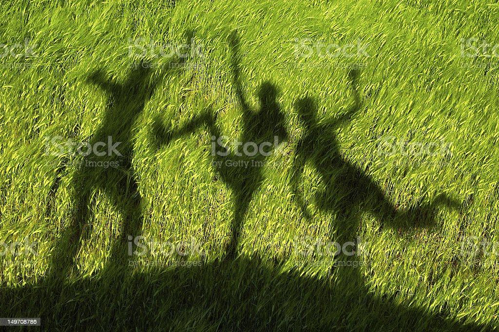 Three silhouettes on green field stock photo