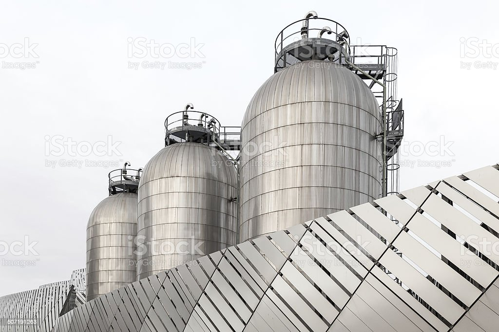 Three silos in stainless steel royalty-free stock photo