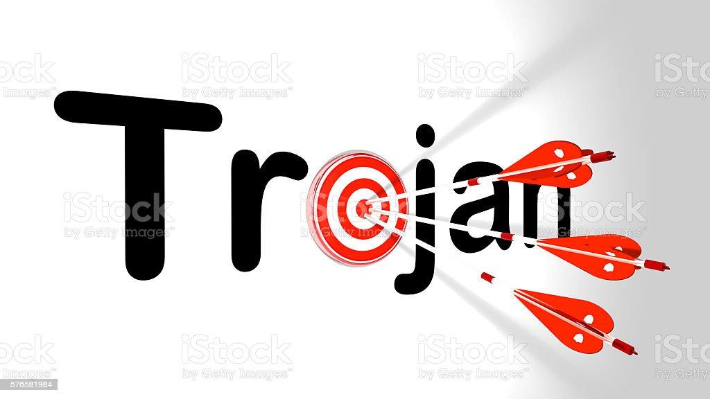 Three silver arrows hitting trojan stock photo