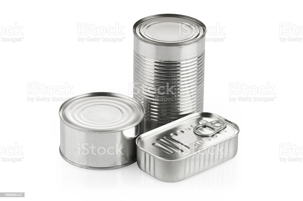 Three silver cans of different shapes and sizes royalty-free stock photo