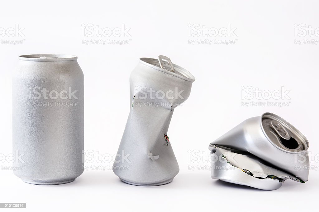 Three silver cans stock photo