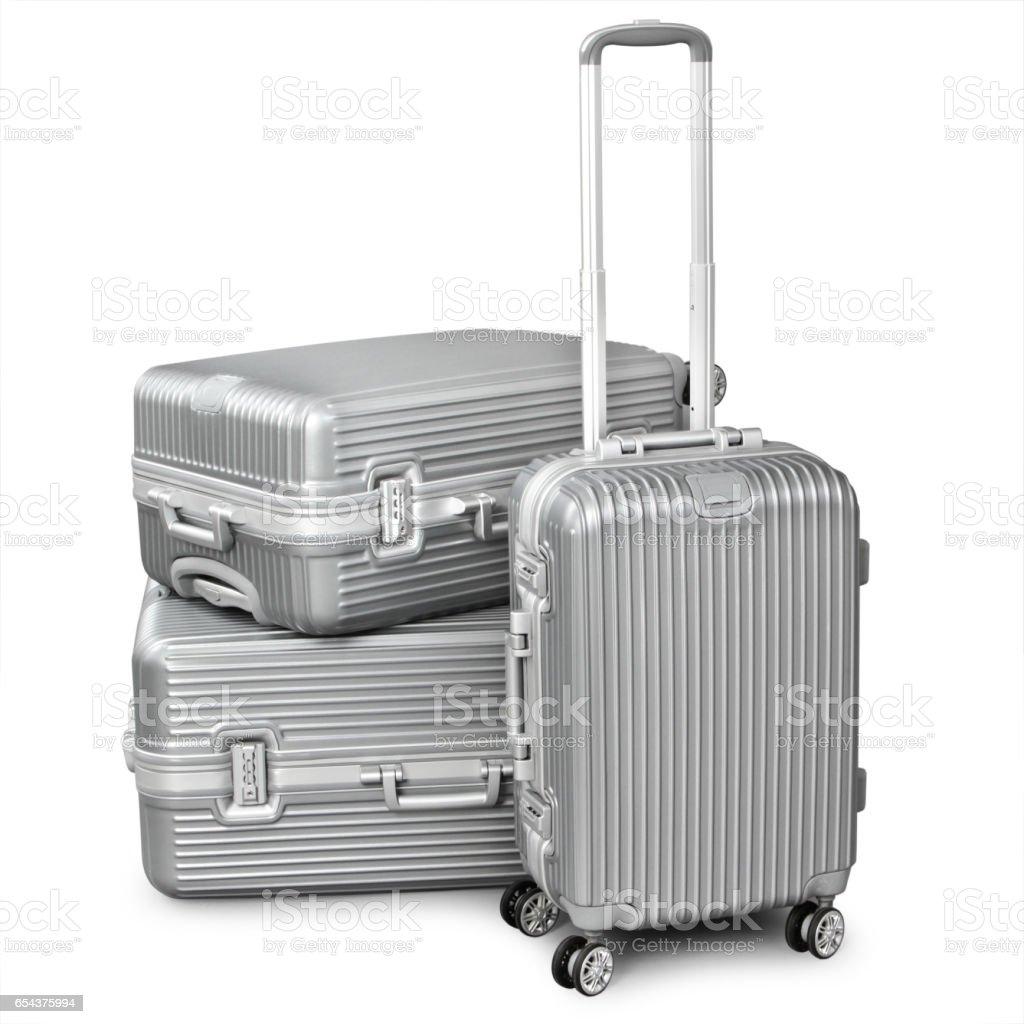 three silver suitcase stock photo