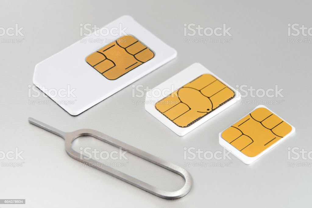Three SIM cards stock photo