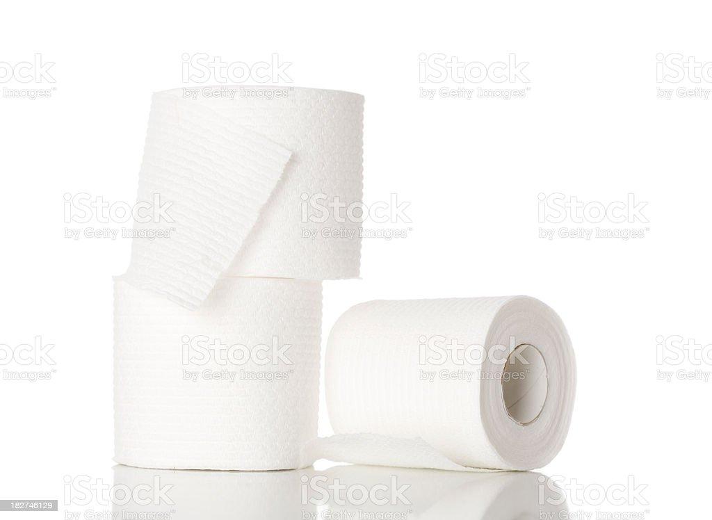 Three single rolls of toilet paper royalty-free stock photo
