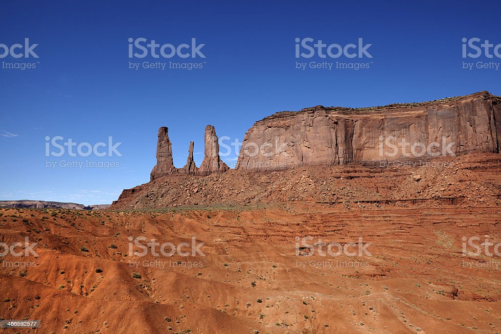 Three Sisters and Mitchell Mesa from John Fords Point royalty-free stock photo
