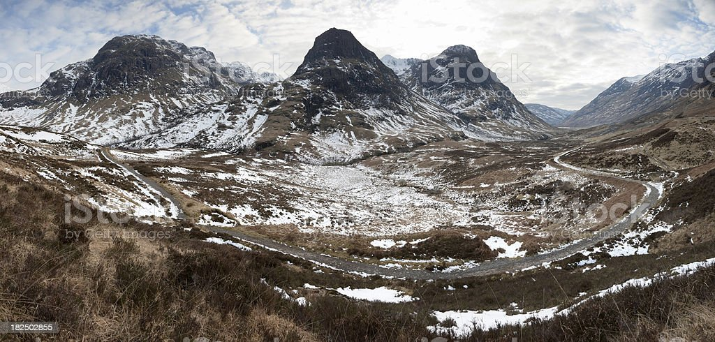 Three Sisters and the Pass of Glencoe - Winter Day royalty-free stock photo