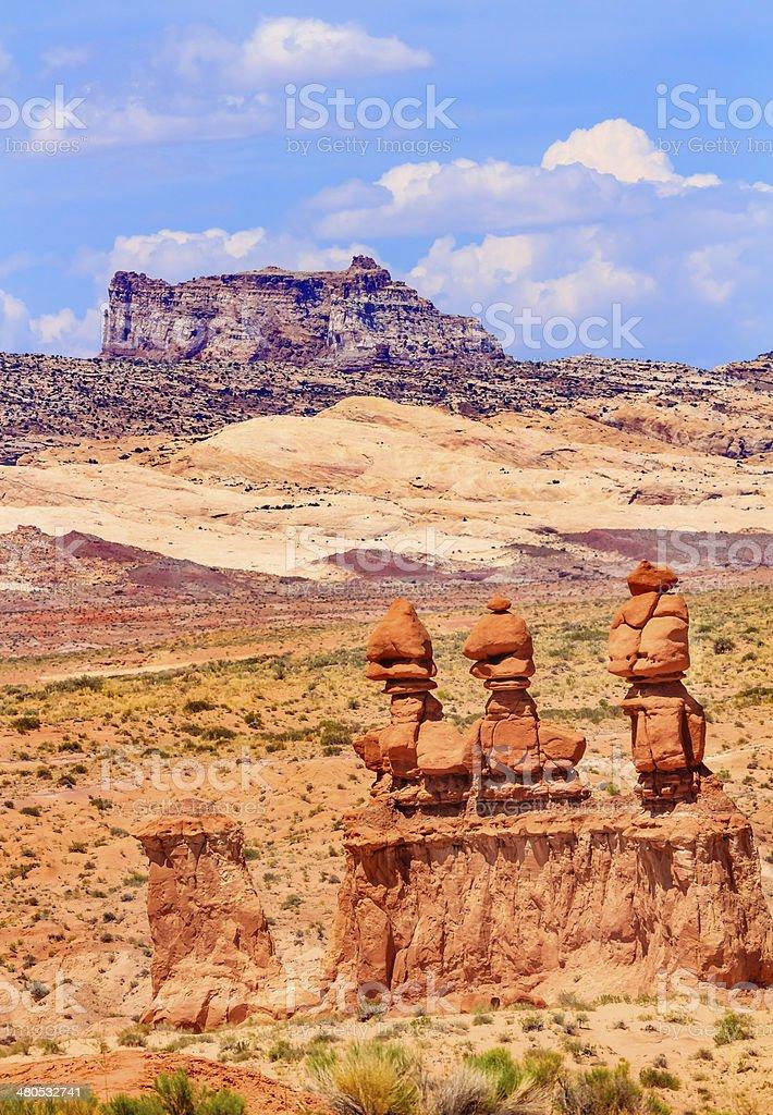 Three Sisters Hoodoos Goblin Valley State Park Utah stock photo