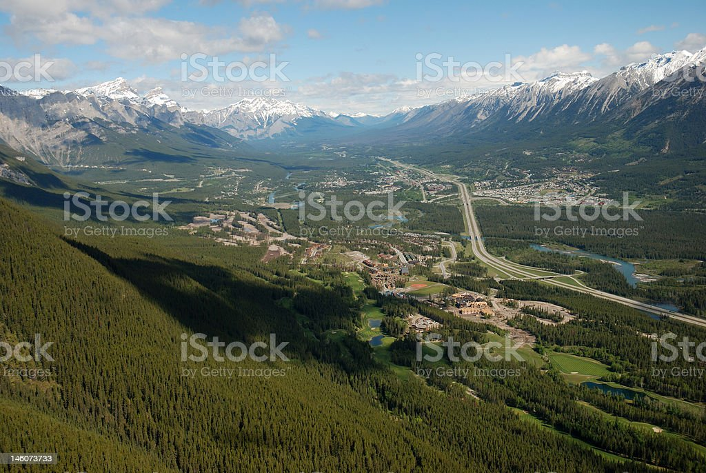 Three Sisters Mountain Village and Canmore stock photo