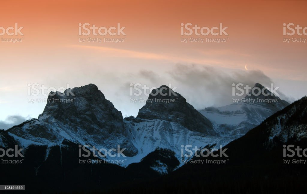 Three Sisters Mountains in Canmore royalty-free stock photo